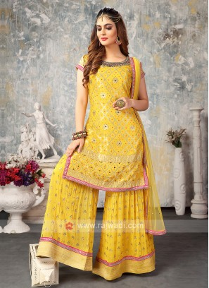 Chiffon Gharara Suit In Yellow
