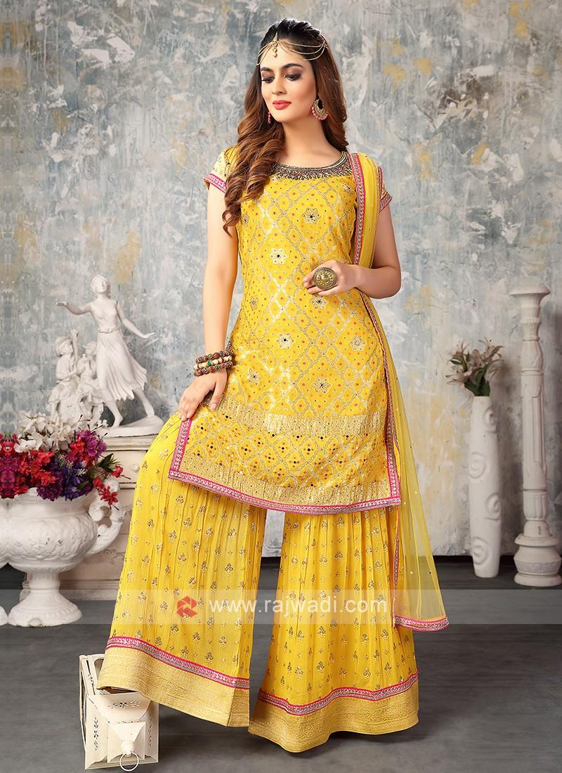 Chiffon Gharara Suit In Yellow