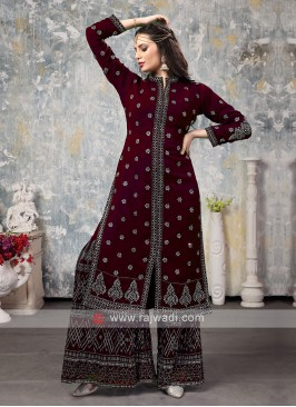 Chiffon Gharra Suit In Wine