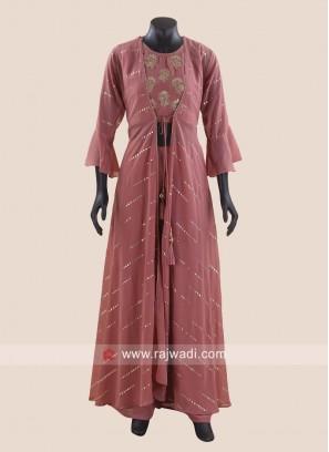Chiffon Jacket Style Palazzo Suit
