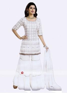 Chiffon Karachi Work Gharara Suit