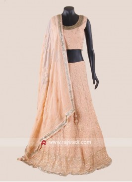 Chiffon Lehenga Choli in light Peach