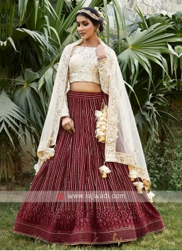 Chiffon Lehenga Choli In Maroon and Off-White