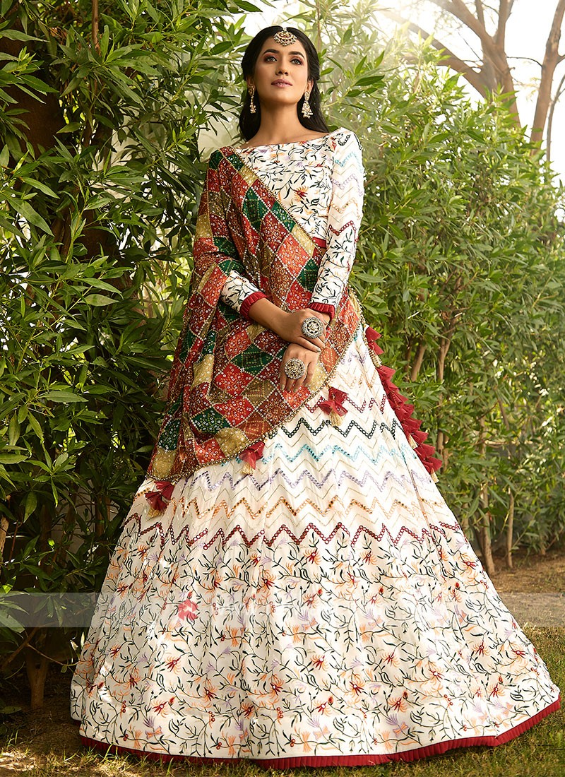 Chiffon Lehenga Choli In Multi Color
