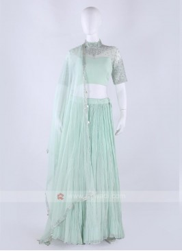 Chiffon Lehenga Choli in pista green color