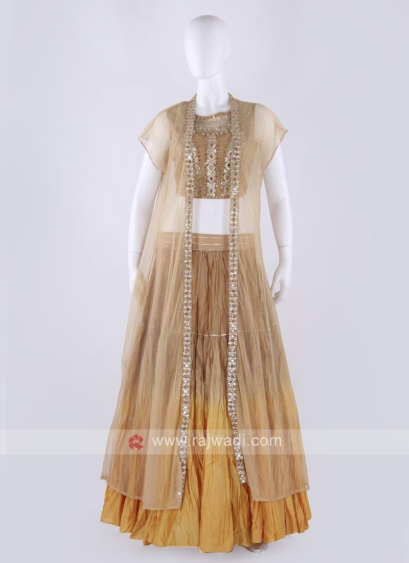 Chiffon Lehenga Choli In Shaded Golden Color