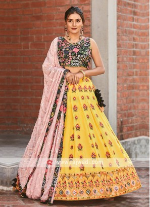 Chiffon Lehenga Choli In Yellow And Black