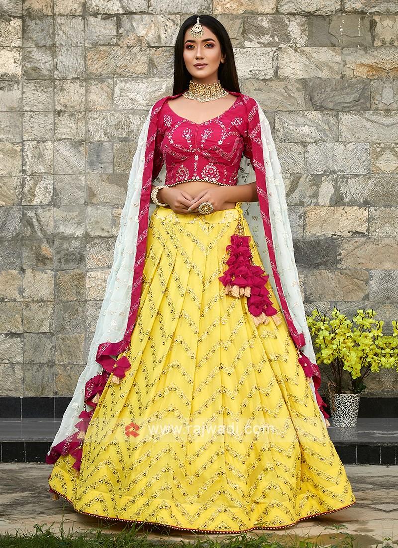 Chiffon Lehenga Choli In Yellow and Pink