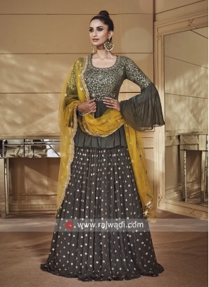 Chiffon Lehenga with Peplum Choli and Net Dupatta