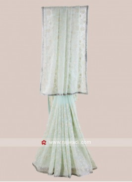 Chiffon Light Sea Green Saree