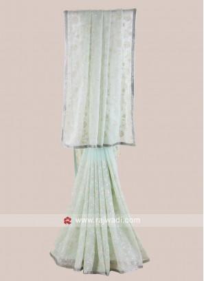 Chiffon Light Sea Green Saree