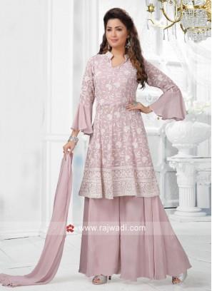 Chiffon Lucknowi Palazzo Suit