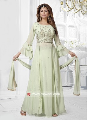 Chiffon Multi Slit Palazzo Suit with Dupatta