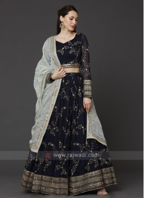 Chiffon Navy Blue Choli Suit