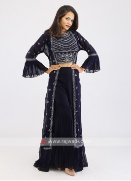 Chiffon Navy Gharara Suit With Shrug