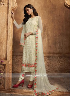 Chiffon Off White Churidar Suit