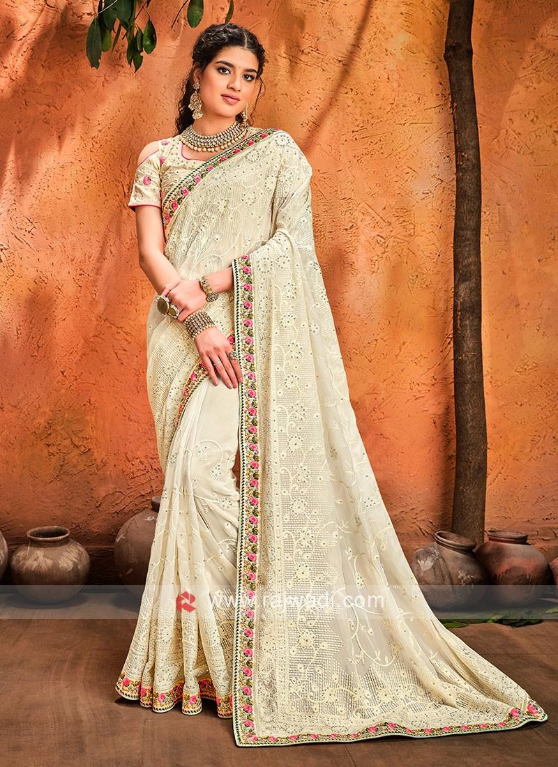 Chiffon Off White Designer Saree