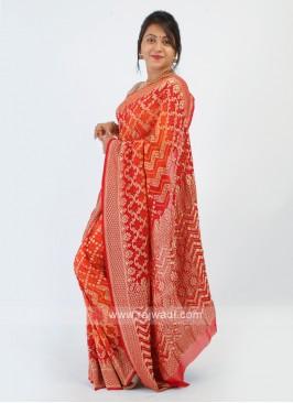 Chiffon Orange And Red Bandhani Saree
