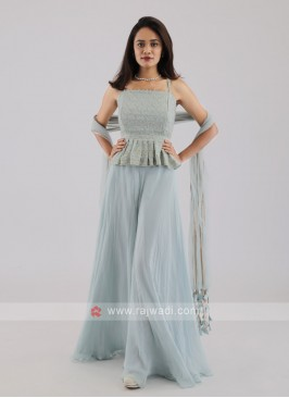 Chiffon Palazzo Suit In Light Sky Blue