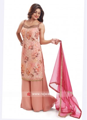 Chiffon Palazzo Suit In Peach