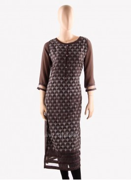 Chiffon Party Wear Kurti in Brown