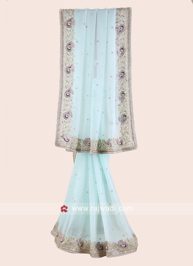 Chiffon Party Wear Saree in Light Sky Blue
