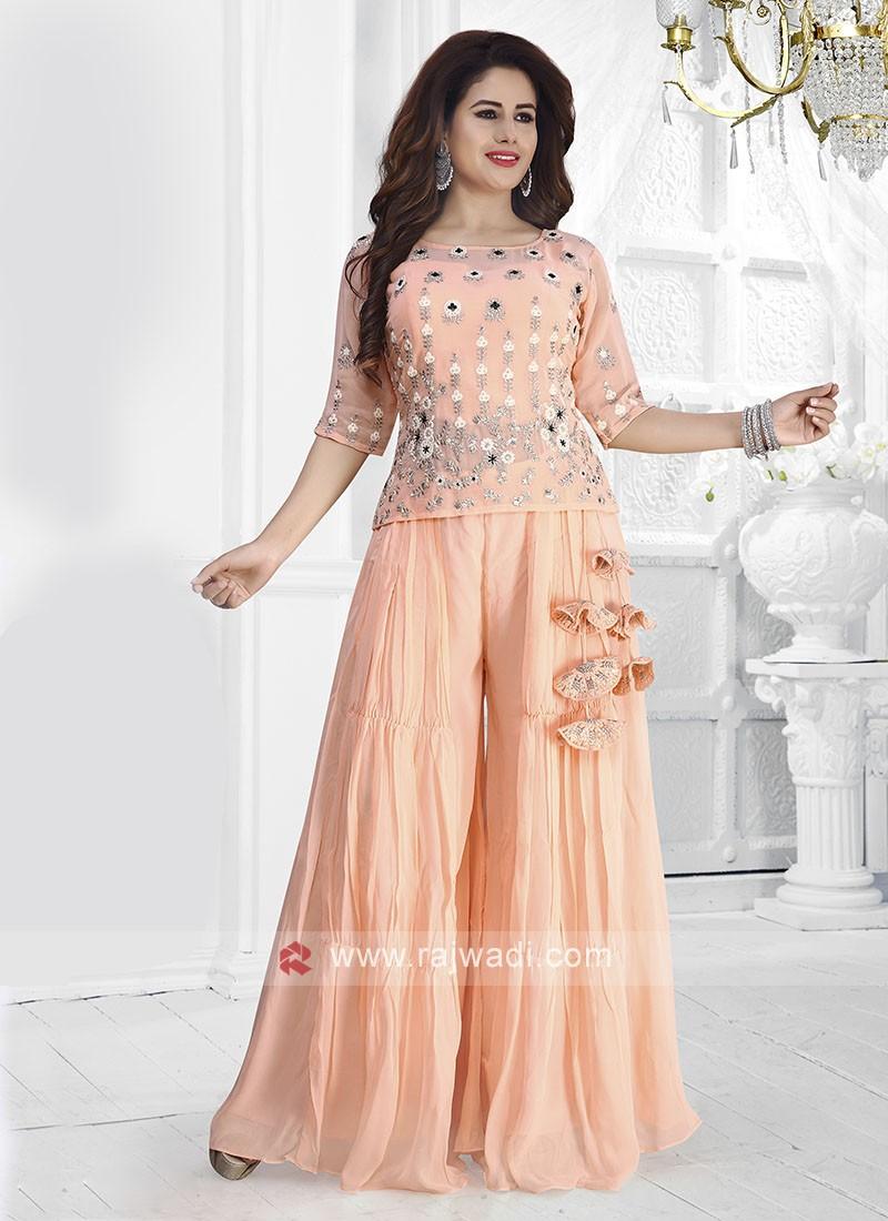 Chiffon Peach Colour Palazzo Suit