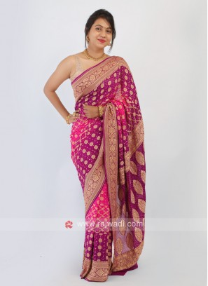 Chiffon Bandhani Pink And Purple Saree