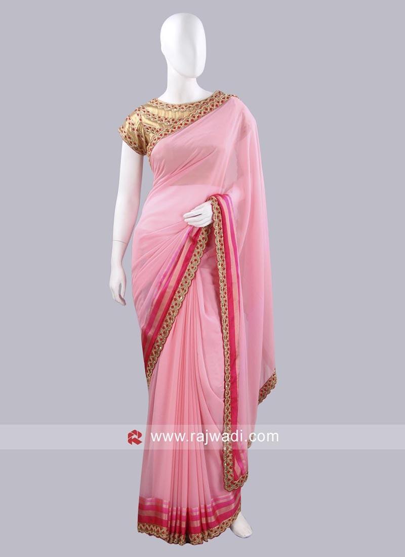 Chiffon Pink Choli Saree