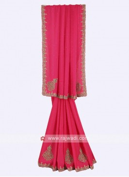 Chiffon pink color saree