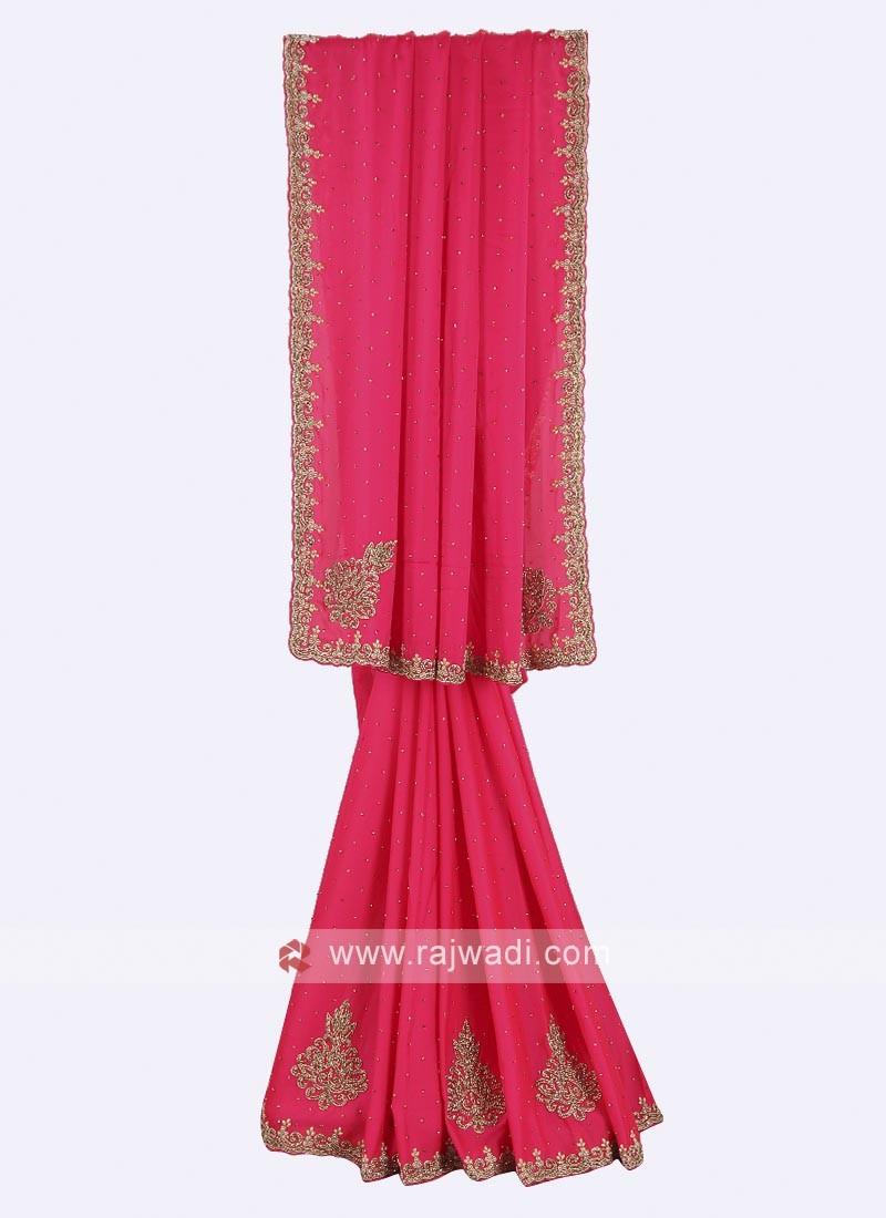 Chiffon pink color saree