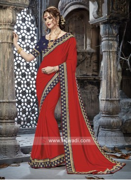 Chiffon Plain Border Work Saree in Red