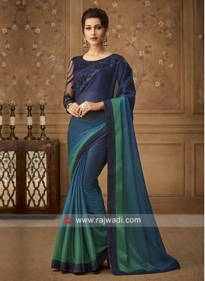 Chiffon Plain Border Work Shaded Saree