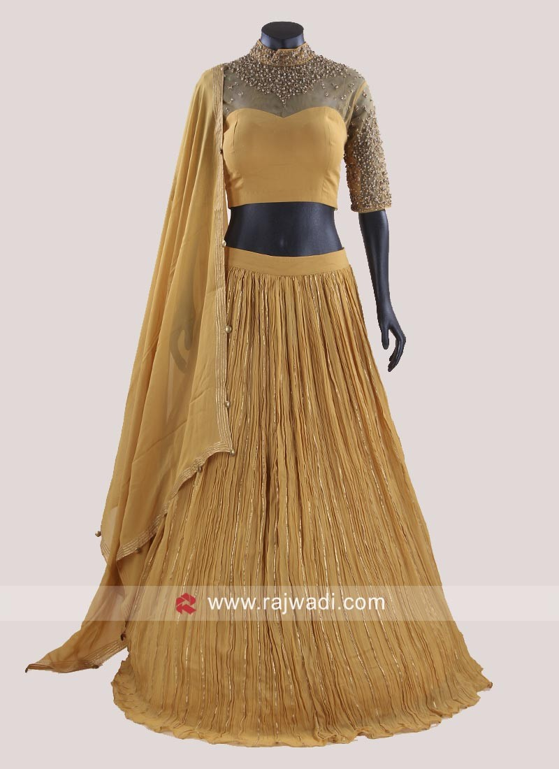 Chiffon Pleated Choli Suit in Mustard Yellow
