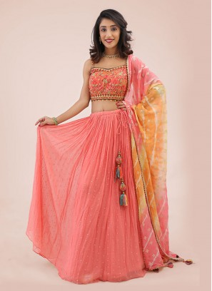 Chiffon Pleated Choli Suit In Peach Color