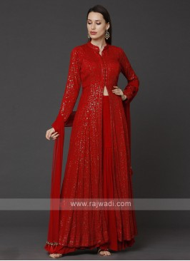 Chiffon Red Gharara Suit