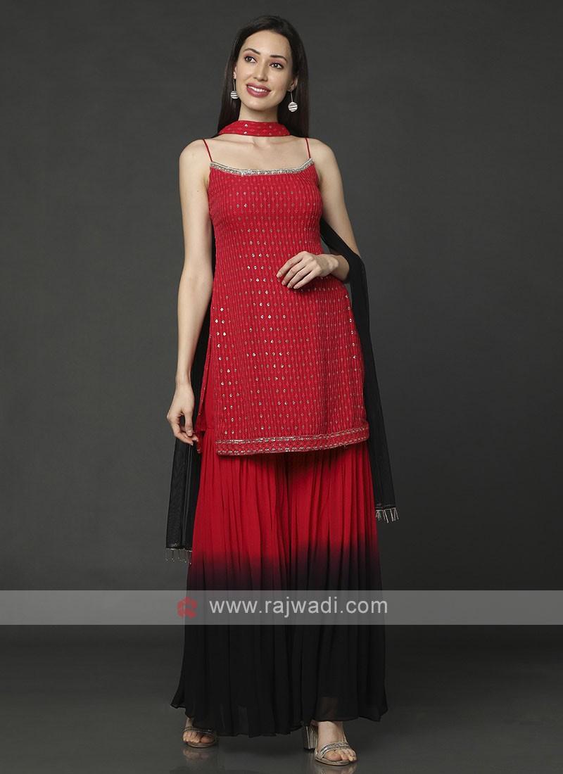 Chiffon Red Gharara Suit