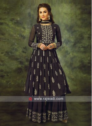 Chiffon Resham Work Gharara Suit in Dark Grey