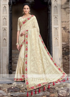 Chiffon Saree In Cream