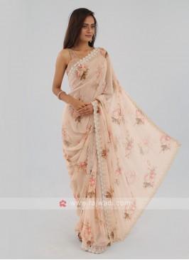 Chiffon Saree In Cream Color
