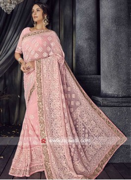 Chiffon Saree in Light Pink