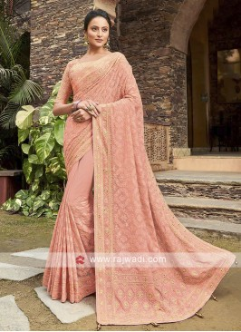 Chiffon Saree In Peach