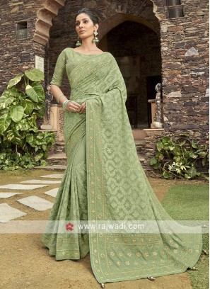 Chiffon Saree In Pista Green
