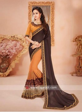 Chiffon Sari with Art Raw Silk Blouse