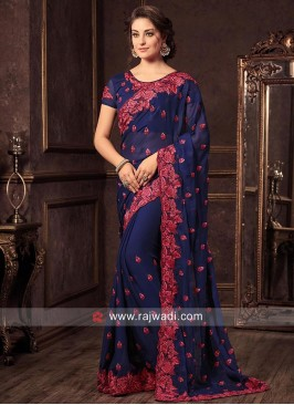 Chiffon Sari with Dark Blue