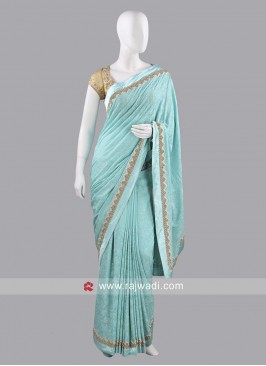 Chiffon Sari with Golden Lace Border