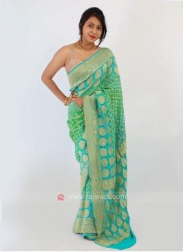 Chiffon Sea Green And Sky Blue Bandhani Saree