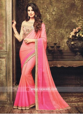 Chiffon Shaded Saree with Contrast Border