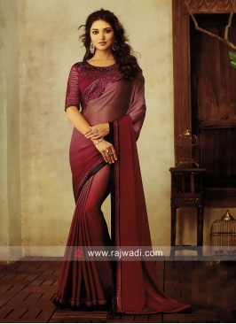 Chiffon Shaded Saree with Lace Border