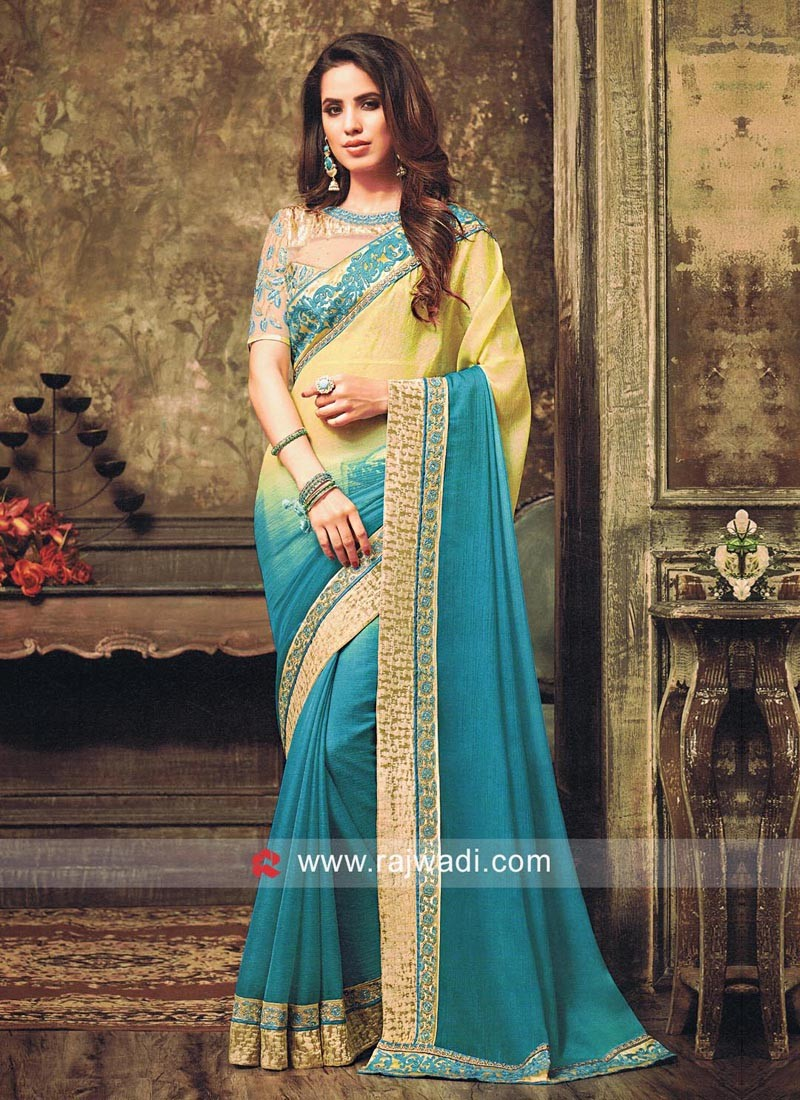Chiffon Shaded Saree with Net Blouse